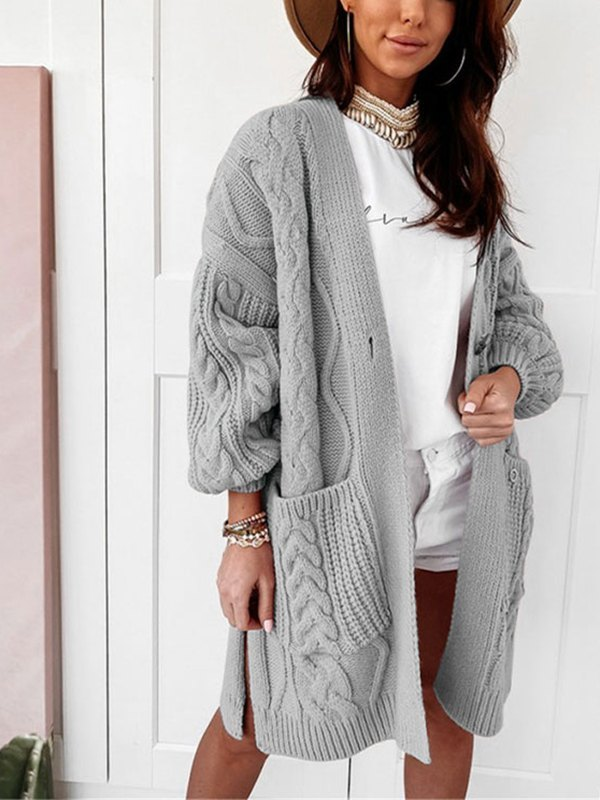 Open Front Cable Knit Cardigan - Gray L