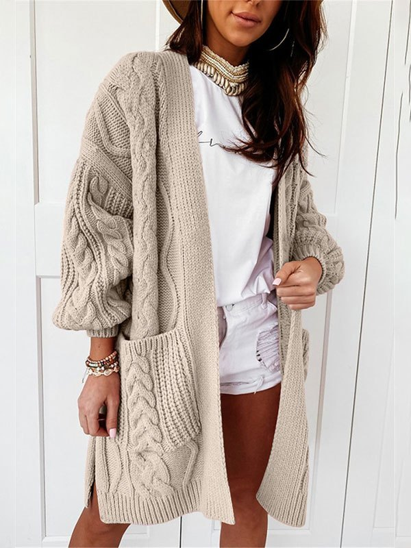 Open Front Cable Knit Cardigan - Khaki S