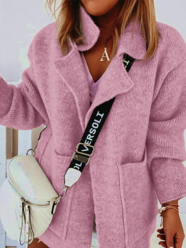 Oversized Pocket Knit Cardigan - Pink L