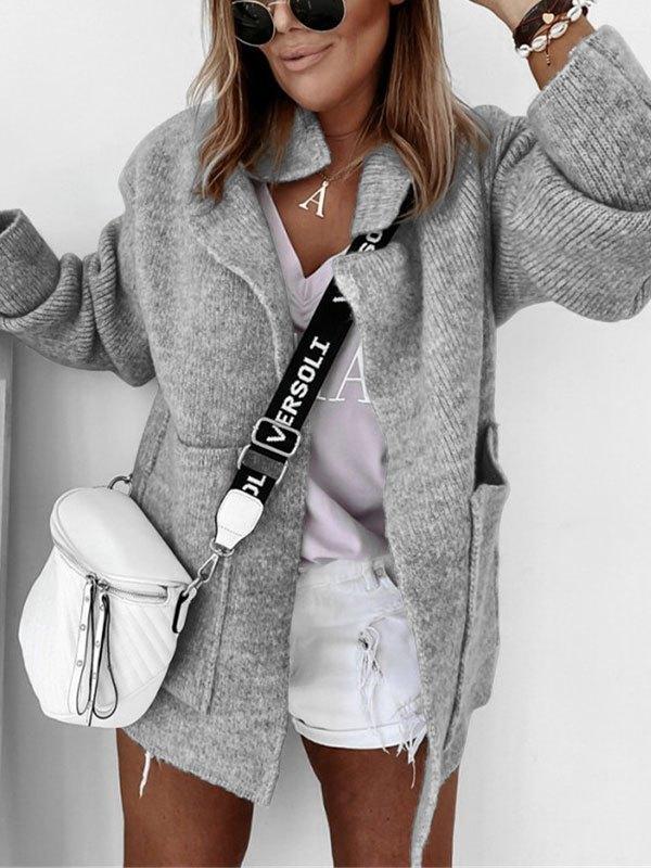 Oversized Pocket Knit Cardigan - Gray M