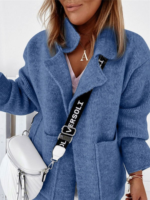 Oversized Pocket Knit Cardigan - Blue M