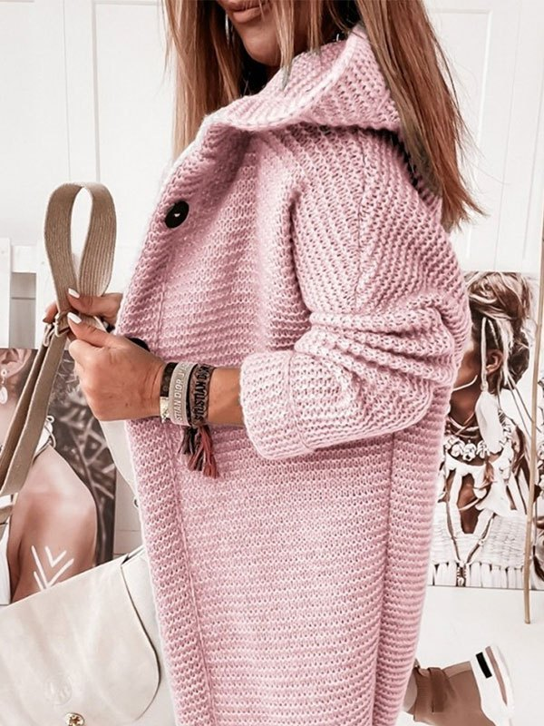 Oversize Button Hooded Cardigan - Pink S