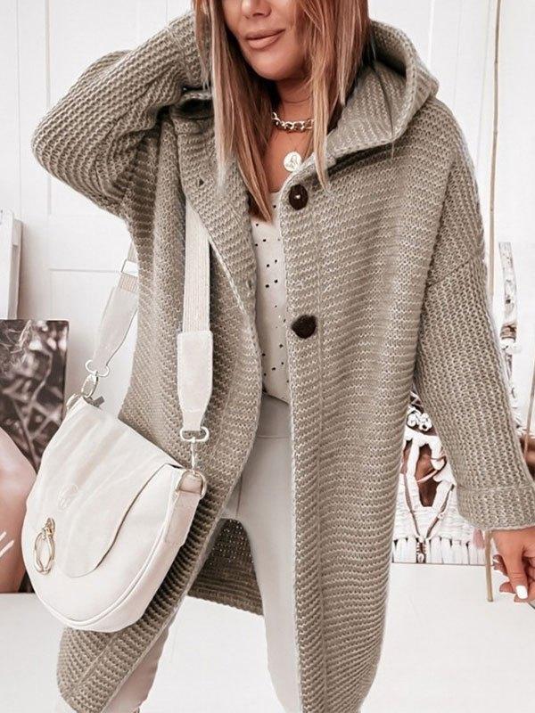 Oversize Button Hooded Cardigan - Khaki M