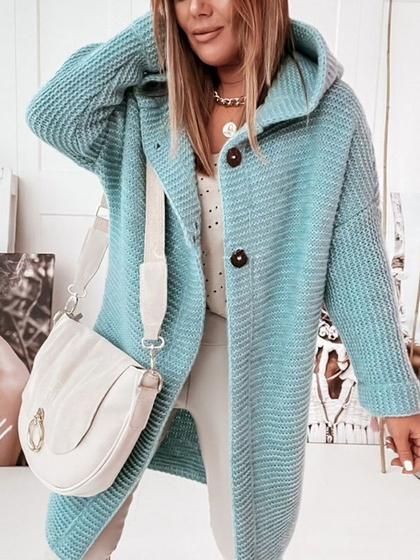 Oversize Button Hooded Cardigan - Blue L