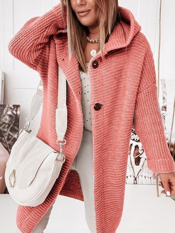 Oversize Button Hooded Cardigan - Orange S