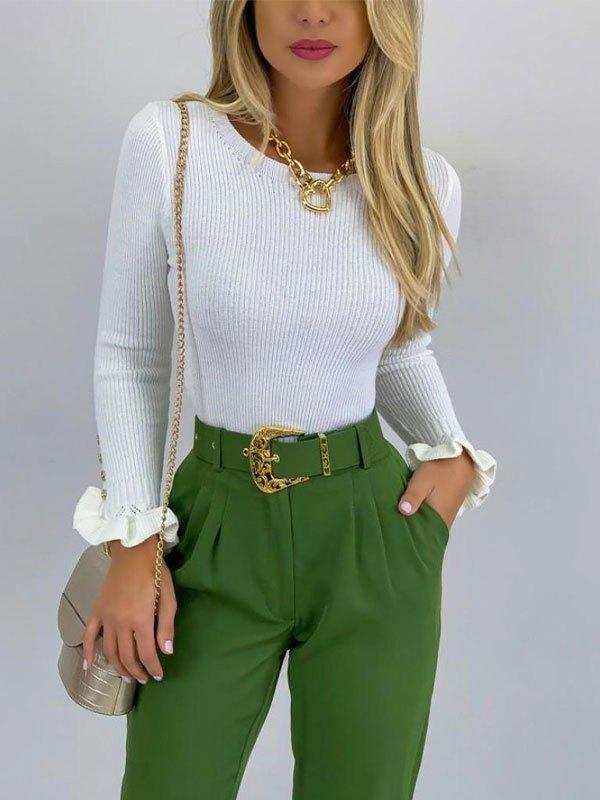 Ruffle Cuffs Knit Sweater - White L