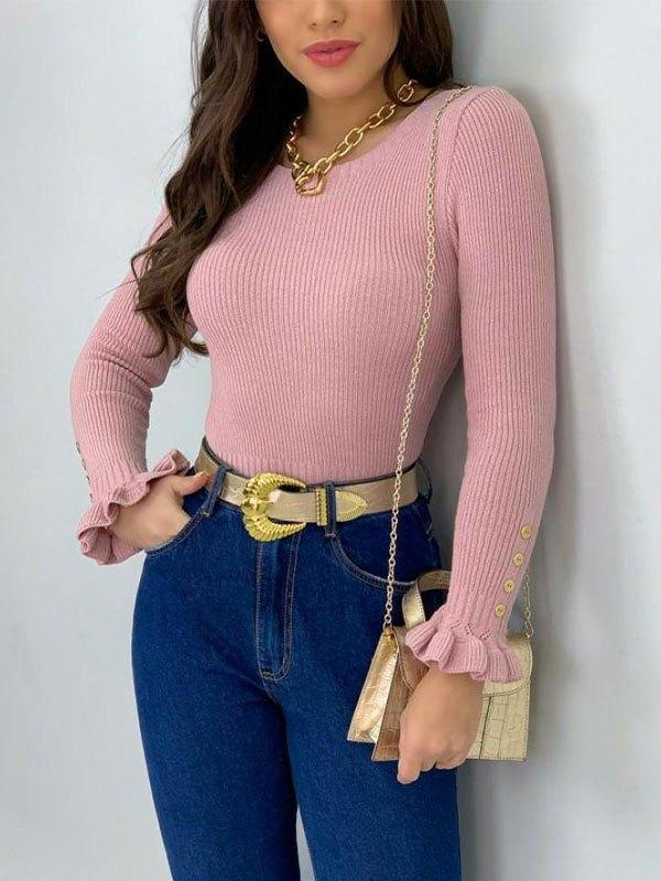 Ruffle Cuffs Knit Sweater - Pink L
