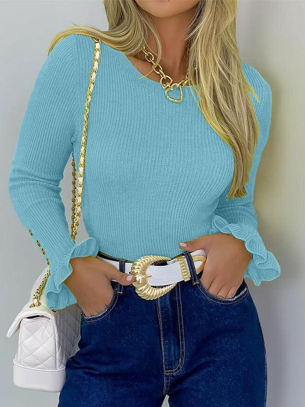 Ruffle Cuffs Knit Sweater - Blue L