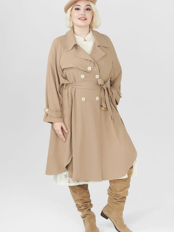 Plus Size Belted Wavy Hem Double-breasted Trench Coat - Khaki XL