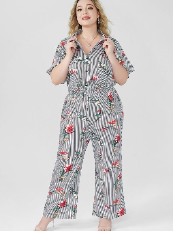 Stand-collar Striped Floral Jumpsuit - Black 3XL