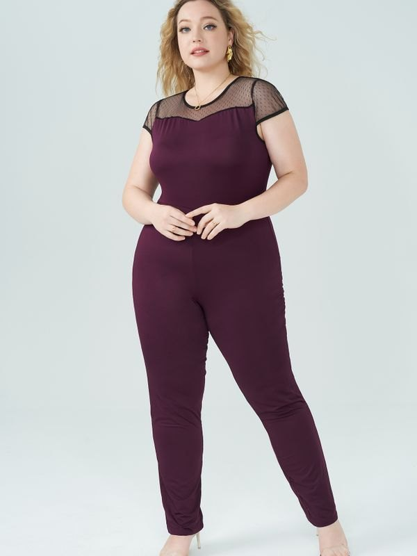 Lace Panelled Round Neck Jumpsuit - Purple 4XL