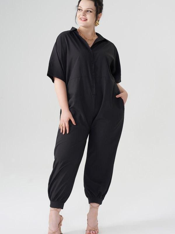 Black Lapel Button Fastening jumpsuit - Black 4XL