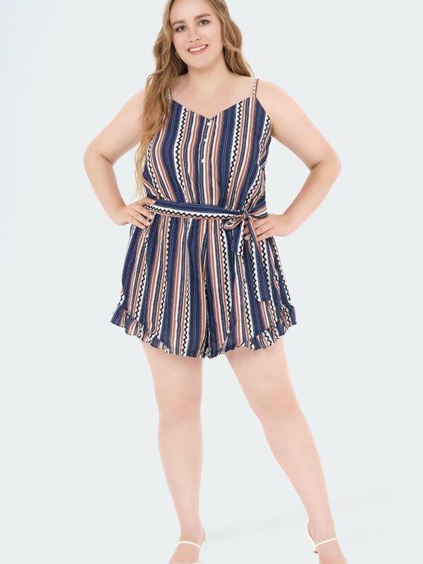 Plus Size Stripe Print Belted Waist Playsuit - multicolorple Colors XL