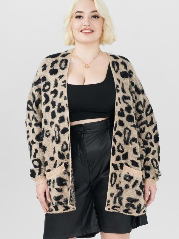 Chic Leopard Patch Pockets Cardigan - Black 2XL