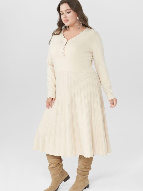 Elegant Button Fastening Knitted Dress - Beige XL