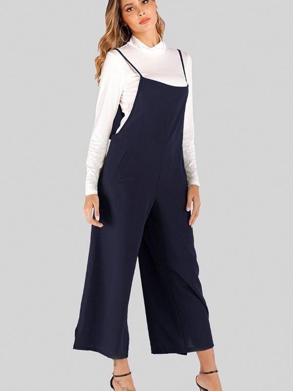 Navy Wide Leg Spaghetti Strap Jumpsuit - Navy Blue L