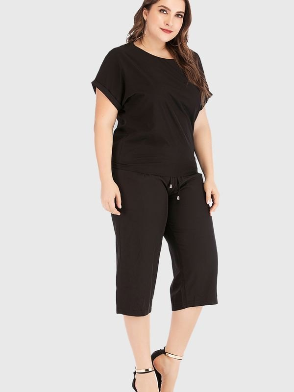 Plus Size Casual Solid T-shirt and Pants Set - Black 2XL
