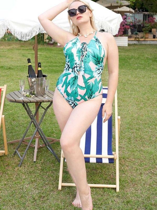 Plus Size Leafy Crisscross One Piece Swimsuit - Green 4XL