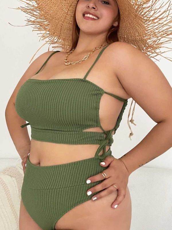 Plus Size Green Side Drawstring Knitted Bikini - Mustard Green 3XL