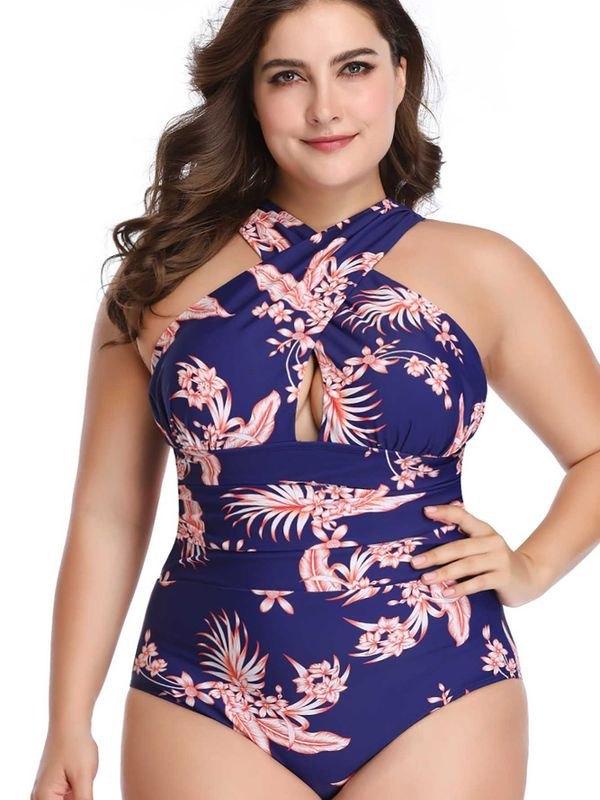 Plus Size Crisscross Front One Piece Swimsuit - Blue XL