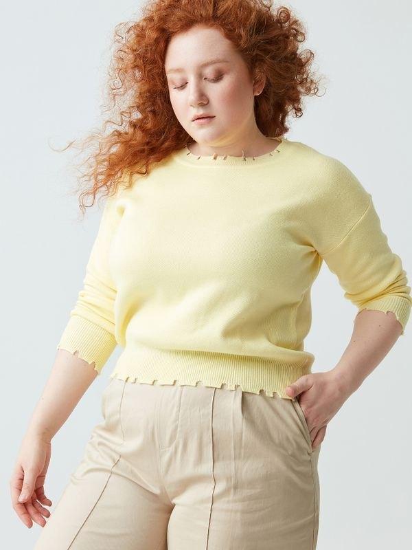 Casual Long Sleeve Raw Edge Knit Sweater - Yellow 3XL