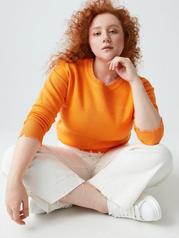Casual Long Sleeve Raw Edge Knit Sweater - Orange 3XL