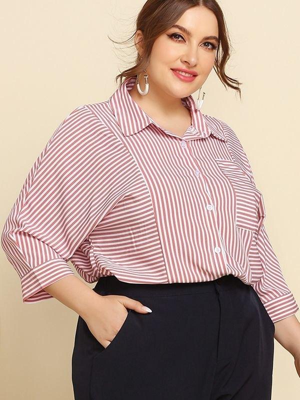 Red Three-quarter Sleeve Striped  Shirt - Pink 4XL