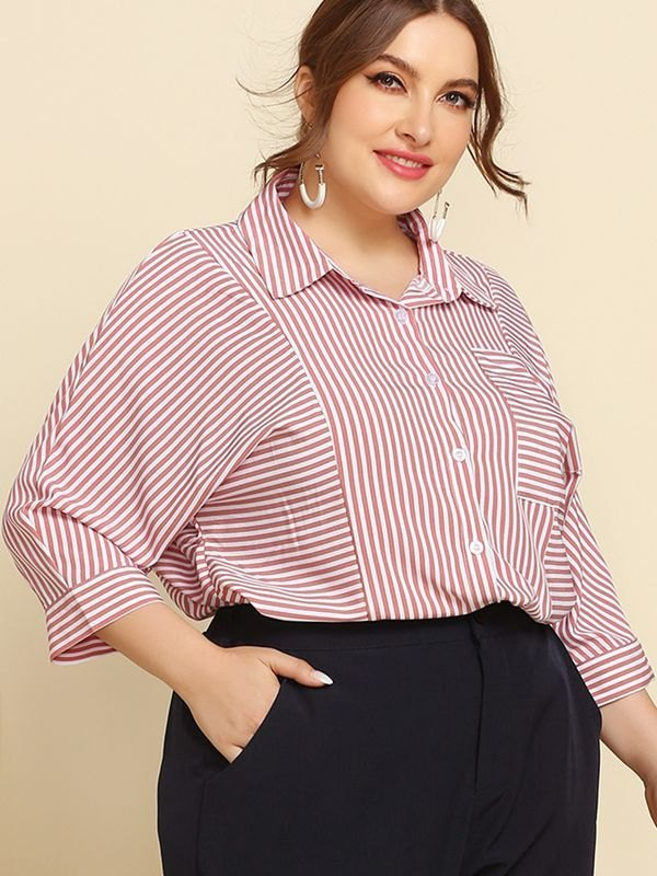 Red Three-quarter Sleeve Striped  Shirt - Pink XL