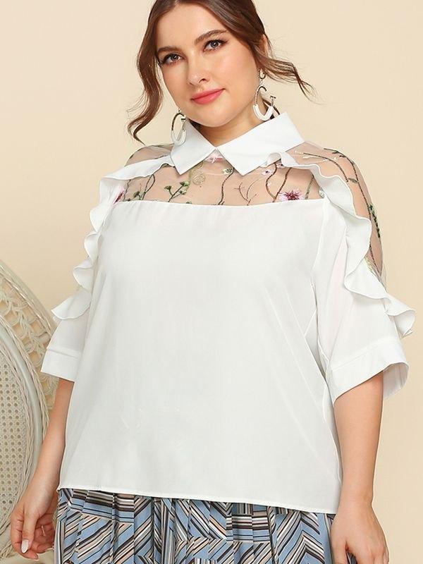 Ruffle Detail Panelled Sheer Mesh Top - White XL