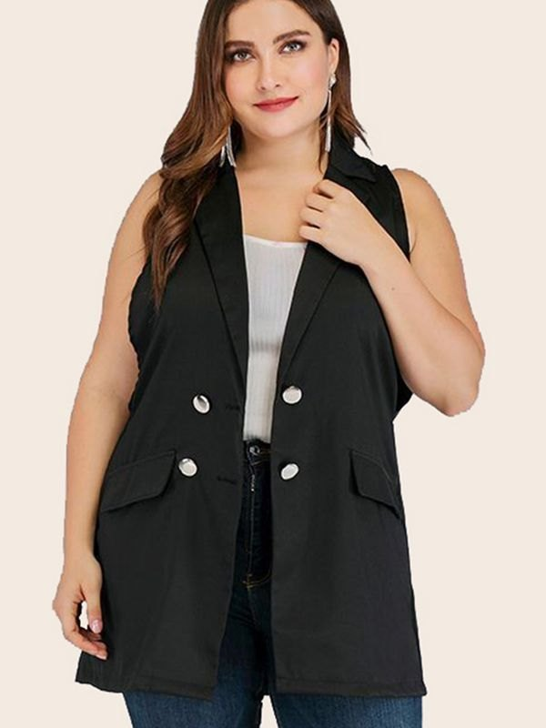 Black Sleeveless Notched Lapel Waistcoat - Black L