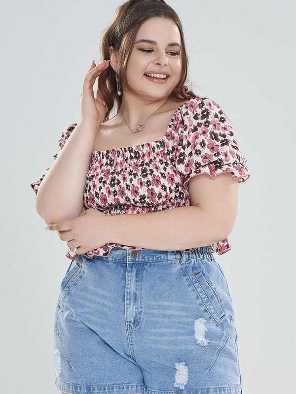 Plus Size Pink Floral Puff Sleeve Smocked Crop Top - Pink L