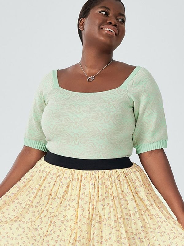Plus Size High Stretch Jacquard Square Neck Knitted Top - Mustard Green 2XL