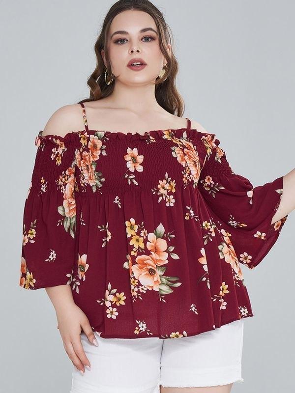 Plus Size Floral Cold Shoulder Smocked Peplum Top - Burgundy L