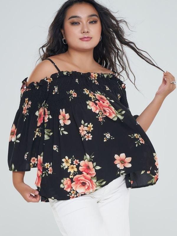 Plus Size Floral Cold Shoulder Smocked Peplum Top - Black XL