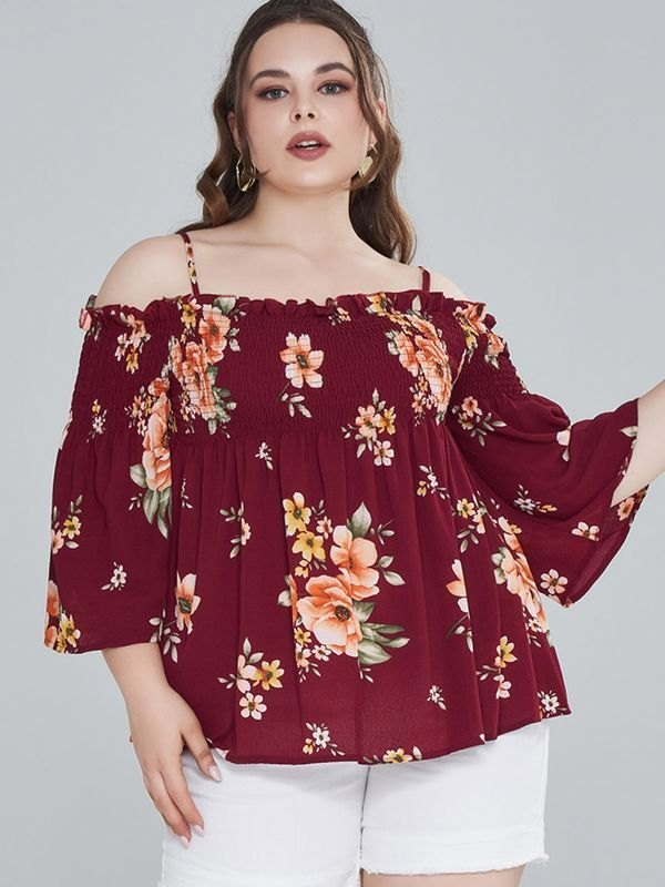 Plus Size Floral Cold Shoulder Smocked Peplum Top - Burgundy XL