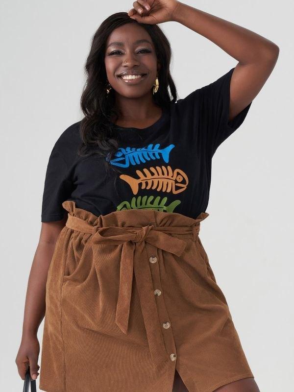 Fishbone Print Black Cotton T-shirt - Black 2XL