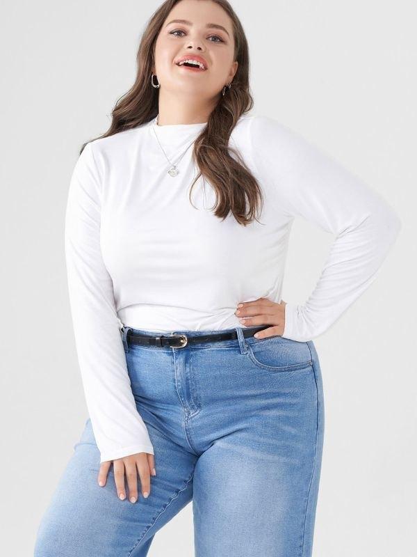 Long Sleeve Turtleneck Lightweight Sweater - White 4XL
