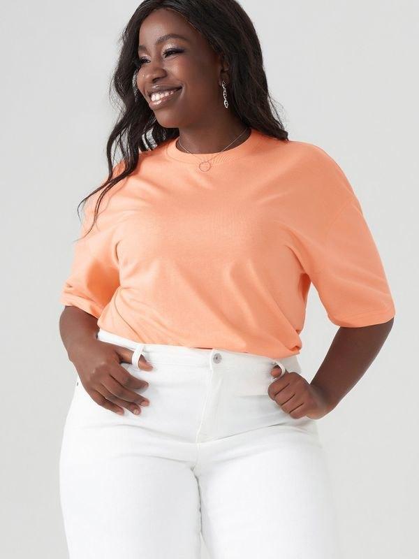 Essential Crew Neck Cotton T-shirt - Orange 5XL