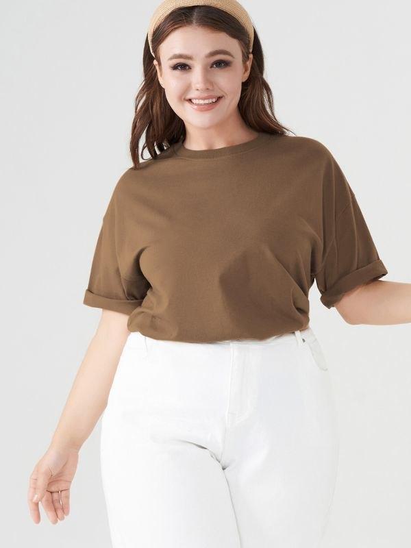 Essential Crew Neck Cotton T-shirt - Brown 5XL