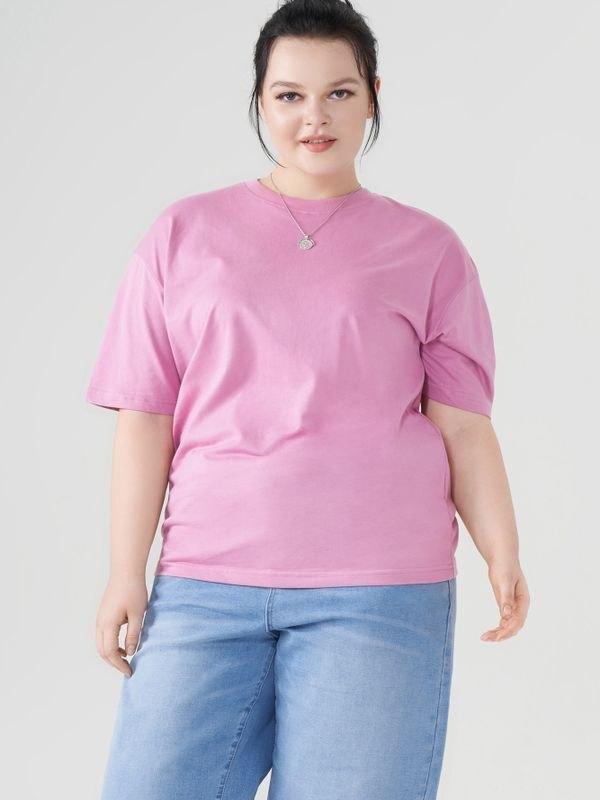 Essential Crew Neck Cotton T-shirt - Fushcia 4XL