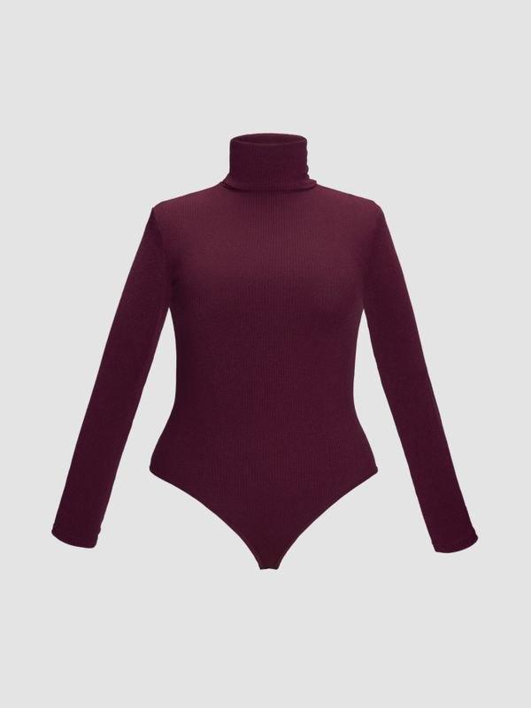 Plus Size High-neck Long Sleeve Snap Crotch Sweater - Burgundy 2XL