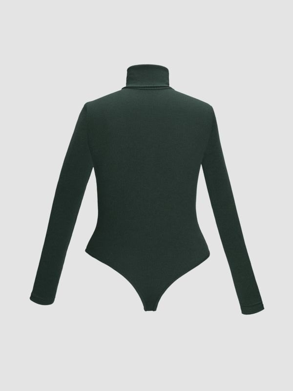 High-neck Long Sleeve Snap Crotch Sweater - Dark Green 5XL