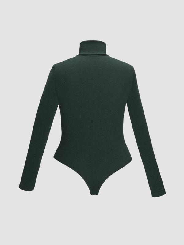High-neck Long Sleeve Snap Crotch Sweater - Dark Green XL