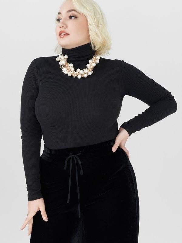 Plus Size High-neck Long Sleeve Snap Crotch Sweater - Black 4XL