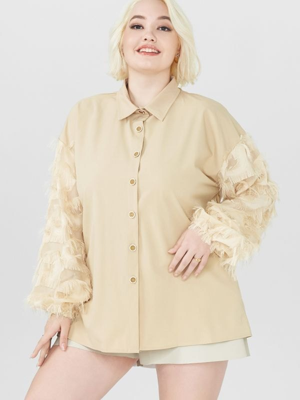 Feather Embellished Stand Collar Shirt - Beige 2XL