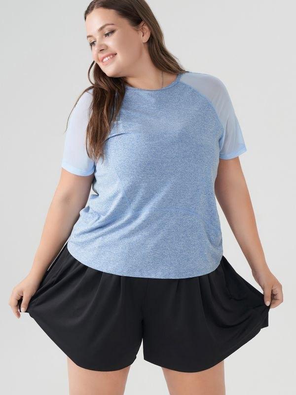 Essential Mesh Panelled Trim Quick Dry T-shirt - Light Blue 2XL