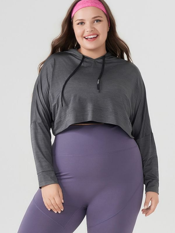 Quick-dry Stretch Workout Cropped Hoodie - Dark Gray L