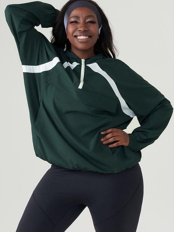 Half Zipper Casual Hoodie Workout Coat - Dark Green 4XL