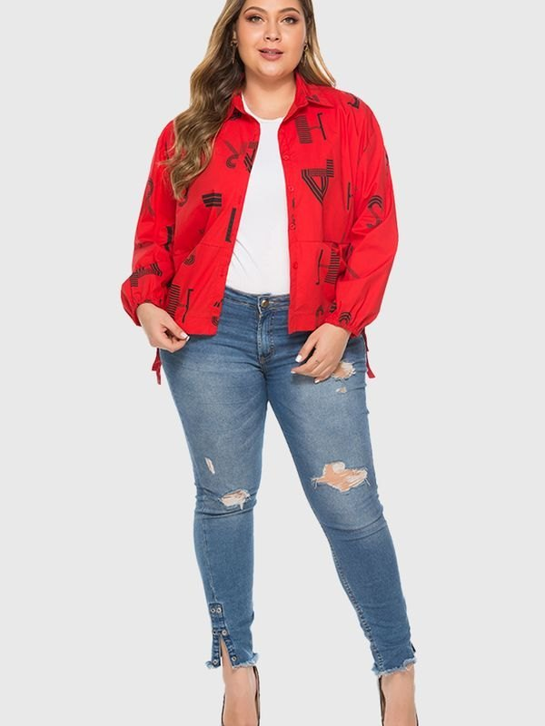 Alphabet Print Puff Sleeves Cropped Jacket - Red 2XL