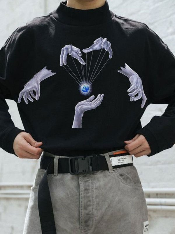 Men's Rotated Universe Graphic Sweatshirt - Black M